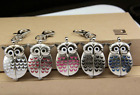 Vintage Quartz Owls Key Ring Chains Pocket Watches Clip Keychain Pendant Gifts image