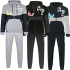 Mens Hooded Tracksuit Print Sports Jogging Bottoms Track Top Full Set Size