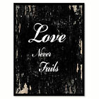 Love Never Fails Quote Saying Canvas Print with Picture Frame Gift Ideas Home De