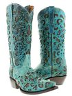 Womens Turquoise Inlay Western Cowgirl Boots Distressed Leather Brown Snip Toe
