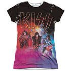 KISS COLORED SMOKE Licensed Front Print Women's Junior Band Tee Shirt SM-2XL