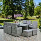 Deluxe 11 Piece 10 Seater Rattan Cube Dining Table Garden Furniture Patio Set
