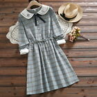 Japanese Mori Girl Sweet Embroider Blouse Bowknot Dress Vingage Dresses