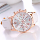 Fashion New Geneva Womens Leather Band Stainless Steel Quartz Analog Wrist Watch image