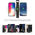 3in1 Qi Wireless Charger Pad Fast Charging For Apple Watch iWatch iPhone XS X