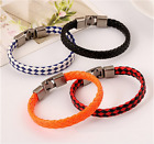 NEW Fashion men and women titanium steel charm punk leather buckle bracelet Pick image