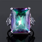 925 Silver Jewelry 4.3CT Mystic Rainbow Topaz Wedding Engagement Ring Size 6-10