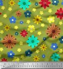 Soimoi Fabric Colorful Flowers Clip Art Printed Craft Fabric bty - CA-23C