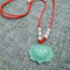Jade Lotus Flower Carved Necklace Pendant Lucky Stone Amulet Unisex Jewelry