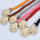 Внешний вид - Handmade Braided leather Wood Baby Infant Dummy Pacifier Clip Chain Soother Toy