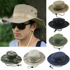 Unisex Men Bucket Hats Wide Brim Camo Camping Hiking Outdoor Sun Fitted Flat Cap