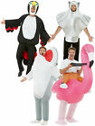 Inflatable Ride On Piggy Back Shark Flamingo  Costumes Mens Fancy Dress Funny