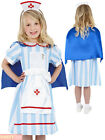 Girls Vintage Nurse Costume Childs Midwife Uniform WW2 Fancy Dress Outfit War