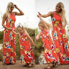 Family Matching Dress Mother Daughter Girls Floral Holiday Long Maxi Dress фото