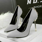 Banquet Suede Metal Bowknot Stilettos High Heel Pointed Toe Pumps Fashion Shoes