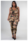 StoreInventoryplus size camo rose athletic sleeveless crop top stretch legging set 1x 2x 3x