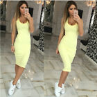 Fashion Women's Solid Sleeveless Long Dress Pencil Dress Summer Spring Crew Neck