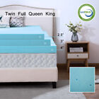 Gel Memory Foam Mattress 2.5/3/4 Inch Blue Topper Ventilated Dot King Twin Full  image