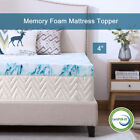 4 Inch Blue Swirl Memory Foam Mattress Topper Gel Ventilated Dot Bed Queen Twin  image