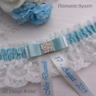 Personalised Wedding Garter. Ivory/White lace with blue satin trim & diamante
