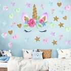 Large Cute Unicorn Art Stickers Girls Bedroom Decals Hearts & Stars Sticker