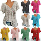 Women V Neck Floral Tee T-shirts Short Sleeve Blouse Summer Tunic Tops Plus Size