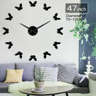 Little Butterfly Giant Big DIY Large Frameless Wall Clock with Mirror Effect