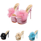 Women's Platform Cut Out Rhinestones Flower Decor Roma High Stiletto Heel Shoes