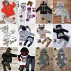 US Casual Toddler Baby Girl Boy Hooded Ears Tops Pants 2Pcs Outfits Set Clothes