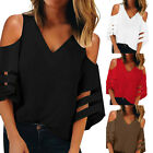 Women Button V Neck Mesh Panel Blouse 3/4 Bell Sleeve Loose Pullover Shirt HY
