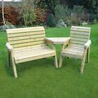 Barrowden Outdoor Wooden Garden Companion 3 Seat / Patio Furniture / Bench 2+1a