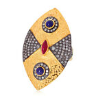 1.4ct Sapphire Rubylite Diamond 14kt Solid Gold Ring 925 Sterling Silver Jewelry