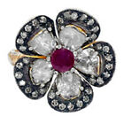 1.12Ct Diamond 14K Gold Sterling Silver Ruby Flower Style Cocktail Ring Jewelry