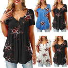 Womens Summer Short Sleeve Blouse T Shirt Tops Floral Loose Tunic Tee Plus Size