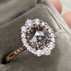 Women Unique Gray CZ Crystal Halo Ring 14k Gold Filled Gemstone Engagement Rings image