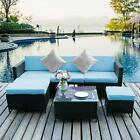 6 PCS Outdoor Patio Furniture Couch Wicker Rattan Cushioned Sofa Sectional Set