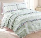 Adalyn Ruffle Lace 100%Cotton Reversible Quilt Set, Bedspread, Coverlet image