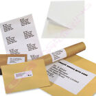 10 25 50 200 2000 5000 SHEETS OF A4 PLAIN WHITE PEEL OFF LABELS - 8 PER PAGE