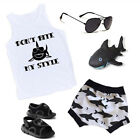 US Canis Toddler Baby Boy Summer Shark Clothes Vest Tops Shorts Pants Outfits