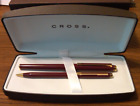 CROSS Signature Fountain Pen Burgundy/Gold, 18K Gold Medium Nib, Converter, Box