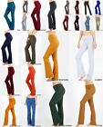 Zenana Women Fold Over Waist Cotton Stretch Flare Leg Boot Cut Yoga Pant Legging