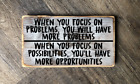 When you focus on problems wood hanging sign rustic home decore cottage gift