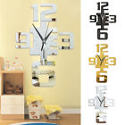 JQ_ EP_ DIY 3D Mirror Surface Large Number Wall Clock Sticker Modern Home Deco