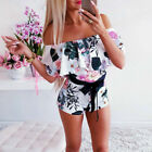 Women Holiday Off Shoulder Jumpsuit Mini Playsuit Summer Party Beach Shorts Dres