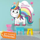 Personalised Unicorn Clouds Wall Stickers Kids Bedroom Girls Art Nursery Wa009p
