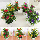 Uk 1x Artificial Flowers Plant Pot Outdoor Home Office Decoration Gift Realistic