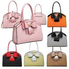 Pop up Bow Feature Structured Leather Top Curve Bag