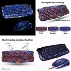 NEW Purple/Blue/Red LED Breathing Backlight Pro Gaming Keyboard Mouse Combos USB