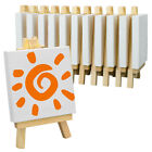 Mini Stretched Canvas & Easel Set-12 Pack,Small White Canvas Panel & Wood Easels
