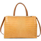 Dasein Croc Faux Leather Satchel with Removable